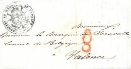 """1841 (20 NOV). Carta De Madrid A Valencia, Dirigida Al Cónsul De Bélgica. Marca A Modo De Franquicia """"LEGATION DE BELGIQ - Franquicia Postal"""