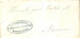 """1862 (20 JUN). Carta De Barcelona A Manresa. Marca """"LA MAQUINISTA / TERRESTRE Y MARITIMA/ BARCELONA"""" Ovalada En Azul A M - Franquicia Postal"""