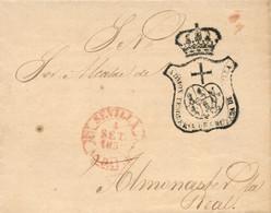 """1850 (2 SEP). Carta De Sevilla A Almonaster La Real. Fechador Nº 31 De En Rojo Y Franquicia De La """"ADMON TESORERIA DE CR - Franquicia Postal"""