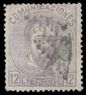 Ø 122F. Amadeo. 12 Cts. Falso Postal. Mat. Rombo De Puntos. Marquillado Y Firmado Graus Y Monge. - 1872-73 Reino: Amadeo I