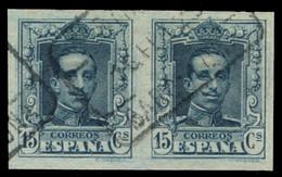 """Ø 315s. Vaquer. 15 Cts. Pareja Horizontal Sin Dentar. Numeración A.181.525. Mat. """"CERTIFICADO/BARCELONA"""". Preciosa Y Muy - Used Stamps"""