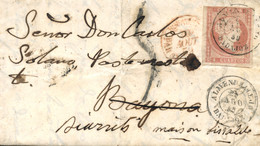 Ø 48 En Carta De Almendralejo A Bayona, El 25/8/1859, Reexpedida A Biarritz (Francia). Mat. Fechador Que Se Repite En El - Cartas