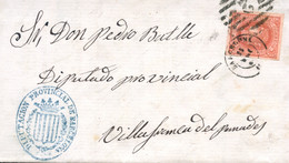 """Ø 64 En Envuelta De Barcelona A Vilafranca, El 25/6/1864. Mat. Mixto P.C. """"2"""" Y Fechador De Barcelona. En El Frente Marc - Cartas"""