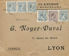 Ø 213(6) Y 219 En Sobre De Barcelona A Lyon, El 2/5/1898. Mat. Fechador. Inusual Franqueo Para Componer La Tarifa De 25 - 1889-1931 Kingdom: Alphonse XIII