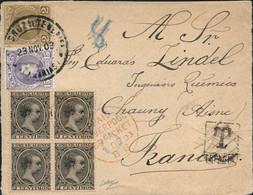 Ø 214(4), 214 Y 245 En Frontal De Santa Cruz De Tenerife A Francia, El 23/11/1903. Rarísimo Franqueo Mixto Tricolor. Mat - 1889-1931 Kingdom: Alphonse XIII
