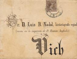 Ø 219 En Carta De Barcelona A Vic, El 24/7/1895. Mat. Fechador. Espectacular Caligrafía. Muy Rara. - 1889-1931 Kingdom: Alphonse XIII