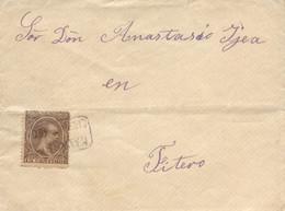 """Ø 219 En Sobre De Cintruénigo A Fiteo, El Año 1900. Mat. Cartería """"NAVARRA/CINTRUENIGO"""" En Negro. Llegada Al Dorso. - 1889-1931 Kingdom: Alphonse XIII"""