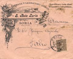 Ø 219 En Sobre De Soria A Fiteo, El 20/6/1900. Mat. Fechador. Espectacular Publicidad De Farmacia Y Laboratorio Químico. - 1889-1931 Kingdom: Alphonse XIII