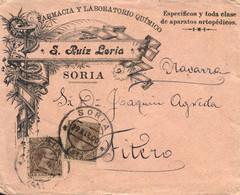 Ø 219(2) En Sobre De Soria A Fiteo. Mat. Fechador. Espectacular Publicidad De Farmacia Y Laboratorio Químico. Llegada. - 1889-1931 Kingdom: Alphonse XIII