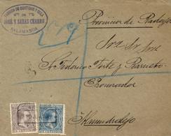 """Ø 219 Y 221 En Sobre De Salamanca  A Almendralejo, El 8/6/1898. Mat. """"CERTIFICADO/SALAMANCA"""". Al Dorso Tres Ambulantes Y - 1889-1931 Kingdom: Alphonse XIII"""