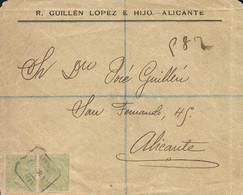 """Ø 220(2) En Frontal Correo Interior De Alicante, El Año 1898. Mat. """"CERTIFICADOS/ALICANTE"""". Rarísimo Franqueo En Correo - 1889-1931 Kingdom: Alphonse XIII"""