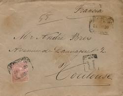 "Ø 224 En Sobre De Barcelona A Toulouse (Francia), El 24/5/1900. Mat. ""CERTIFICADO/BARCELONA"" Que Se Repite En El Frente. - 1889-1931 Kingdom: Alphonse XIII"