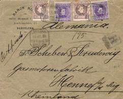 """Ø 243(2) Y 246(2) En Sobre De Barcelona A Alemania, El 13/7/1906. Mat. """"CERTIFICADO/ESTa SUCURSAL Nº 1/BARCELONA"""" Que Se - 1889-1931 Kingdom: Alphonse XIII"""