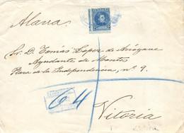 """Ø 248 En Sobre De Madrid A Vitoria, El 27/12/1907. Mat. """"CORREOS/ESTAFETA DEL CONGRESO"""" Y En El Frente """"CERTIFICADO/ESTA - 1889-1931 Kingdom: Alphonse XIII"""