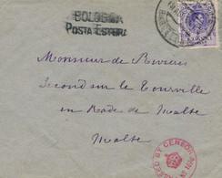 "Ø 270 En Sobre De Barcelona A Malta, El 18/8/1915. Mat. Fechador. En El Frente Marca ""BOLOGNA/POSTA ESTERA"" En Negro Y C - 1889-1931 Kingdom: Alphonse XIII"