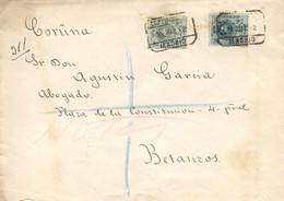 """Ø 272 Y 277 En Sobre Certificado De Madrid A Betanzos, El 16/3/1912. Mat. """"CERTIFICADO/MADRID"""". Al Dorso Ambulante Del N - 1889-1931 Kingdom: Alphonse XIII"""