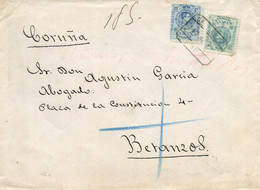 """Ø 274 Y 275 En Sobre Certificado De Madrid A Betanzos, El 18/7/1913. Mat. """"CERTIFICADO/MADRID"""". Al Dorso Ambulante Y Lle - 1889-1931 Kingdom: Alphonse XIII"""