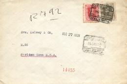 """Ø 317 Y 318 En Sobre Certificado De Valencia A EEUU, El 15/12/1928. Mat. """"CERTIFICADO/ESTAFETA DE CAMBIO/VALENCIA"""". Trán - 1889-1931 Kingdom: Alphonse XIII"""