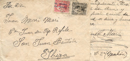 Ø 491 Y 598 En Carta De Cartagena A Ibiza, El 27/7/1931. Franqueo Mixto Republicano. Mat. Fechador Ilegible. Al Dorso Re - 1889-1931 Kingdom: Alphonse XIII