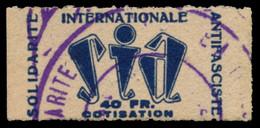 SIA. Cotisation. 40 Fr. En Azul. Viñeta Emitida En Francia. No Catalogada, Rarísima. Ex Col. Sanmartín. - Verschlussmarken Bürgerkrieg