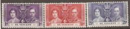St  Vincent  1937   SG 146-8 Coronation   Mounted Mint - St.Vincent (1979-...)