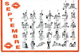 Carte Erotique - Illustration - Mois De Septembre - Kama Sutra De Poche - 30 Positions Pour Faire L'amour - Women