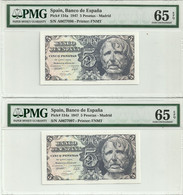 Spain 5 Pesetas 1947 P134a. 2 Correlative Numbers .Graded 65 EPQ By PMG  Gem Uncirculated - [ 3] 1936-1975 : Regime Di Franco