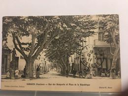 Ancienne Carte Postale-Vaucluse-sorgue-rue Des Remparts Et Place De La République - Sorgues