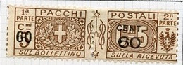 Italie - Italy - Italien Colis Postaux 1923-25 Y&T N°CP21 - Michel N°PK21 * - 60cs3c Pacchi+Postali - Pacchi Postali