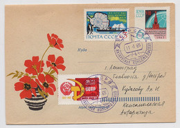 ANTARCTIC Komsomolskaya Station 9 SAE Base Pole Mail Cover USSR RUSSIA Whaling Fleet - Bases Antarctiques