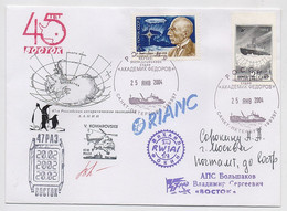 ANTARCTIC Vostok Station 47 RAE Base Pole Mail Cover USSR RUSSIA Signature Ship Airship Helicopter Not Dent Stamp - Bases Antarctiques