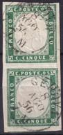 SARDEGNA 1855 - 5 Cent. Verde Smeraldo (13d) Coppia, 8.8.1856 - Sardegna