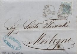 """1674 - Lettera Del 1868 Da Milano A Morbegno Con Cent 20 Azzurro, Bollo """" Natante COMO-COLICO"""" Sul Verso . - 1861-78 Vittorio Emanuele II"""