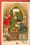 ZBD-13 Bonne Année  Enfants Et Cadeaux Carte Et Argent. Geprägt. Gaufré. Circulé 1907 - New Year