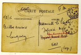 Cachet Association Des Dames Françaises, Comité De Largentière En Date 1-08-1916 - Carte Place De La Mairie Animée - Largentiere