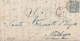 """1675 - Lettera Del 1864 Da Milano A Morbegno Con Cent 15 Celeste E Bollo """" Natante COMO-COLICO"""" Sul Verso . - 1861-78 Vittorio Emanuele II"""