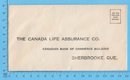 Enveloppe Commercial - Sun Life Insurance Co - Rue Frontenac Et Marquette Sherbrooke Que - Facturas & Documentos Mercantiles