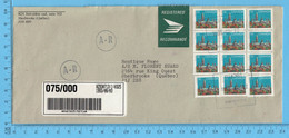 Lettre Enregistré 1993 - 12 Timbres De 38¢  Sherbrooke Que - Cartas