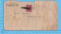 Lettre Commerciale 1912 - Overprint 34 Sur Cover Sherbrooke  1912Que To Richmond Que - 1911-1935 Reinado De George V