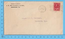 2¢ Canada  1912 - Commercial Envelope - J.S. MitchelL Sherbrooke Que To Richmond Que. - 1937-1952 Reinado De George VI