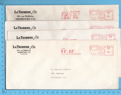 4 Enveloppes Commerciale 1974  - La Tribune Dufferin Sherbrooke, Meter Stamp - 1952-.... Reinado De Elizabeth II