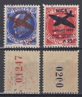 """TIMBRES LIBÉRATION De NICE SURCHARGÉS """" ANCIENS DE L'AVIATION 1945 """" NEUF **/* TB (PM13 & PM14) POSTE AERIENNE - Liberation"""