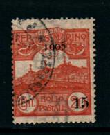 20826) SAN MARINO-15 C. Su 20 C.Veduta Di San Marino, Soprastampato - 1 Settembre 1905-SERIE COMPLETA USATA- - Saint-Marin