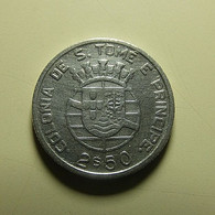 Portuguese S. Tomé E Príncipe 2 1/2 Escudos 1939 Silver - Portugal