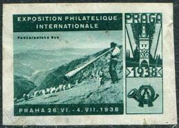 Czechoslovakia PRAGA 1938 Philatelic Exhibition Vignette Carpathian Ukraine Shepherd Trembita MUSIC Poster Reklamemarke - Briefmarkenausstellungen