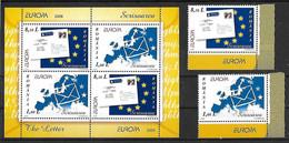 EUROPA - Année 2008 - Thème: L'écriture D'une Lettre - ROUMANIE - N° Yvert 5298/5299 & BF 347  - Neufs** - Unused Stamps