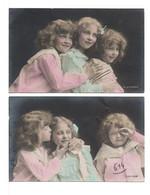 CPA - TROIS FILLETTES - 2 Cartes - Groupes D'enfants & Familles