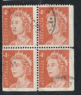 Australia 1966-71 QEII 4c Red Booklet Blk4 FU - 1966-79 Elizabeth II