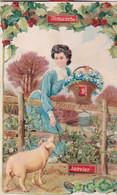 Carte à Systeme Dimanche 9 Janvier Bonne Année Jeune Femme  Fleurs Cochon  Recto Verso - Cartoline Con Meccanismi