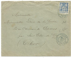SAGE 15C TYPE A BLEU TOURY 18 OCT 1890 EURE ET LOIR LETTRE - 1877-1920: Semi Modern Period